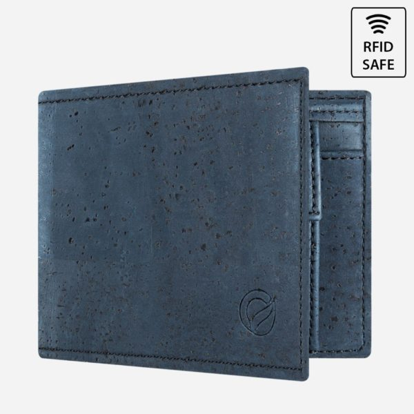 Vegane Kork Geldbörse mit Münzfach (blau)