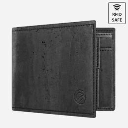 Vegane Kork Geldbörse mit Münzfach (schwarz)