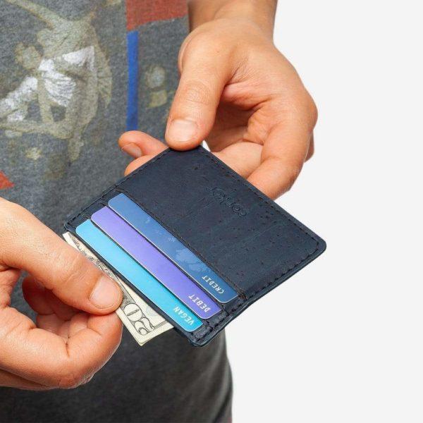 Kartenetui 2 Kork blau